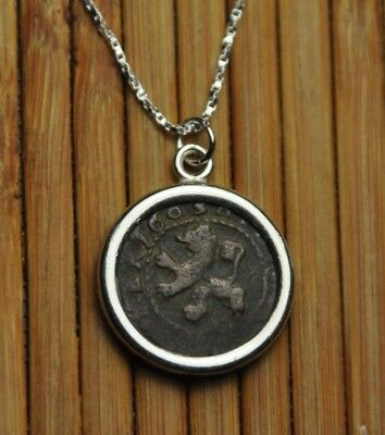 Authentic Ancient 2 Maravedis Pirate Spanish Coin Pendant 925 Silver Necklace