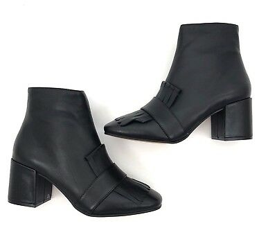 a29df629f4a NEW Steven Steve Madden Shooter Kiltie Ankle Booties Black Leather Womens  Size 7