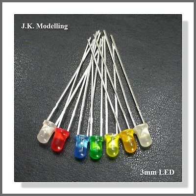 3mm Diffused 3v LED Bulbs for Lights on your Cars,Trains Etc. in 7 Colours