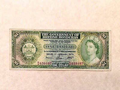 - 1973  British Honduras One $1 Dollar Elizabeth II   P 28c - Sale Priced