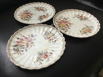 Sevres Victorian Plates C 1887 X 3 Very Good Condition 21.5cm Diameter
