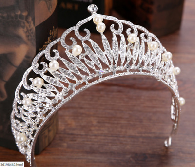 7cm High Large Adult Crystal Pearl Wedding Bridal Party Pageant Prom Tiara Crown