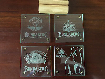 Bundaberg Rum Glass Coasters & Stand