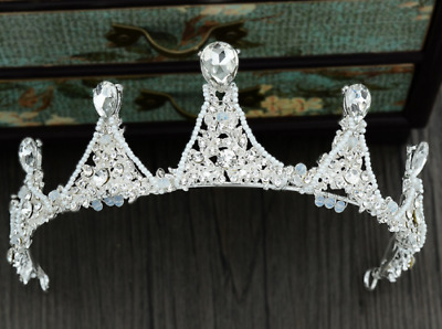 Large Adult Crystal Pearl Wedding Bridal Party Pageant Prom Tiara Crown