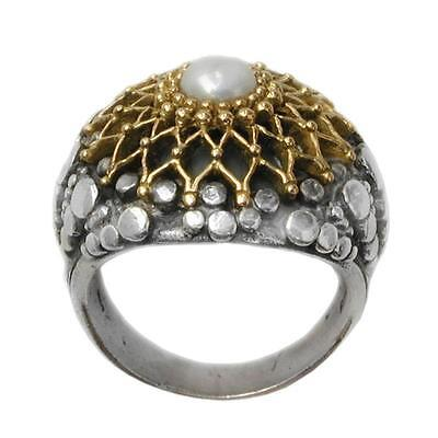 Gerochristo 2219 ~ Solid Gold, Sterling Silver with Pearl Medieval Cocktail Ring