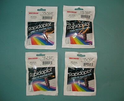 New Lot of 4 Packs of 5 each Plotter Pen Rapidoplot Green Blue Red Black 0.3 HP