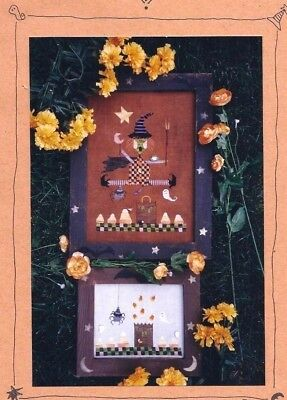 Unique Witch Spiders Ghost and Candy Corn Halloween Cross Stitch Pattern Chart