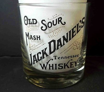 Jack Daniel's glass Old Sour Mash Tennesee Whiskey Gold Black logo 7 oz