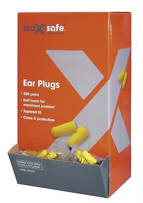 Maxisafe Disposable Foam Earplugs Box Of 200 Safety Sound Hearing Protection
