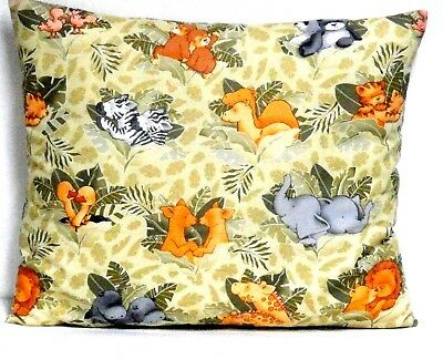 Jungle baby Animals Toddler Pillow on Green 100%Cotton WA14-7 New Handmade