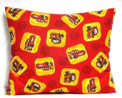 Pixar Cars Toddler Pillow on Red Flannel PC12-5 New Handmade