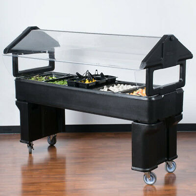 6' BLACK Plastic NSF Open Base Portable Food / Salad Bar with Sneeze Guard, USA