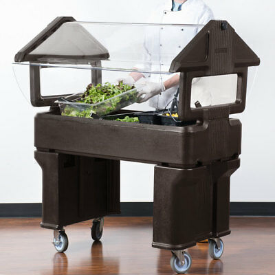 4' BROWN Plastic NSF Open Base Portable Food / Salad Bar with Sneeze Guard, USA