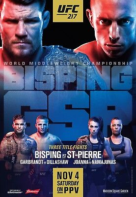 UFC 217 Fight Poster (24x36) - Michael Bisping vs George St-Pierre, Dillashaw