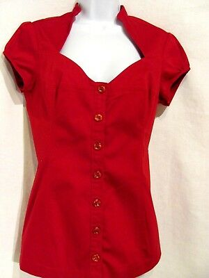 5ea48474ff6de5 GUESS RED WOMEN'S Large Blouse cotton Shirt Top V neck cap sleeves ...