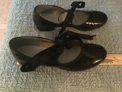 """Girl's Black Tap Shoes. 9"""""""