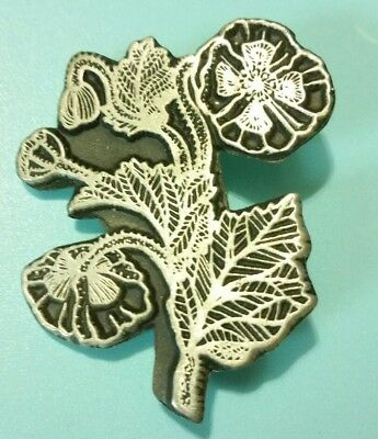 Retired signed Alice Seely URBAN FETISHES 1998 Pin Brooch Pewter Flowers Plant