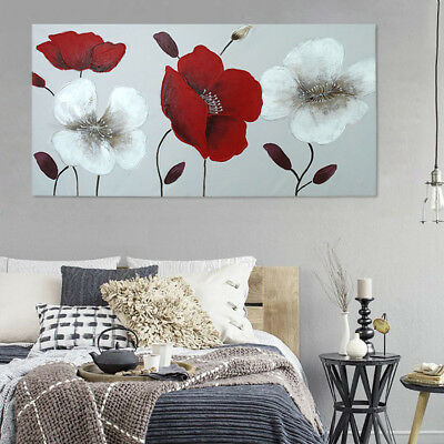 Modern Abstract Hand Painted Art Oil Painting On Canvas - Poppy Flowers Framed