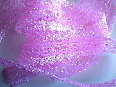 "Knittingin/coathanger/Eyelet lace 5 metres x 3.5 wide ""Pink Opal"" colour"