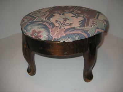 Antique Vintage Retro Round Foot Stool Queen Anne Legs Fabric Tapestry Ottoman
