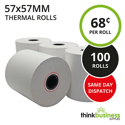 100 x Premium 57x57mm Thermal Paper EFTPOS Rolls for Cash Register Receipts