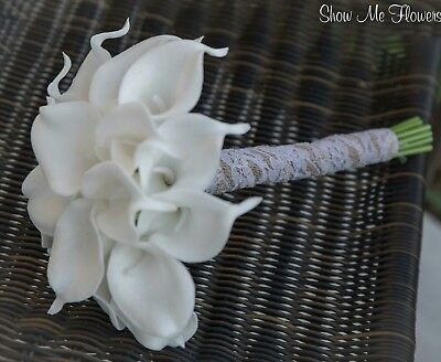 White Real Touch Calla Lily Wedding Bouquet Set 2pc PICK HANDLE COLOR and Style
