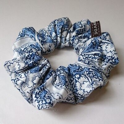 Vintage blue flower classic pattern Cotton hair scrunchie handmade ponytail