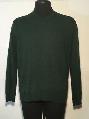 J Crew Mens Sweater Size Large Merino Wool Hunter Green V-Neck Long Sleeve  0153