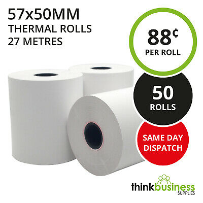 50 x Premium 57x50mm Thermal Paper EFTPOS Rolls for Tyro Xenta & Yomani