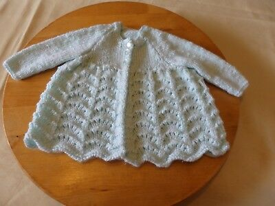 NEW - hand knitted baby matinee jacket - gree