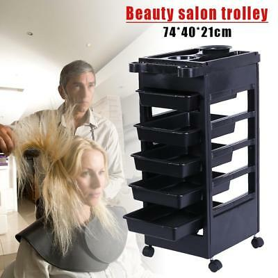 Beauty Spa Hairdresser Coloring Hair Salon Trolley Rolling Storage Cart 5 Tier