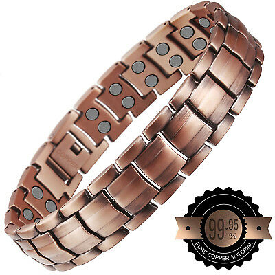 Double Strength Mens Pure Copper Magnetic Therapy Bracelet Arthritis Pain Relief