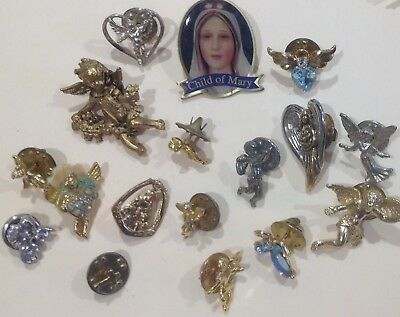 VINTAGE - RELIGIOUS  PINS - Lot of 17 - MARY, Angels, Cherub, and more