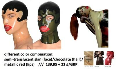 uni-SEX Libidex LATEX Maske KISS CURL HOOD Gr.S/M transparent/braun/rot ca.200€