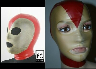 LATEX Maske red/transparent rubber mannequin doll hood Gr.S handmade AT geklebt