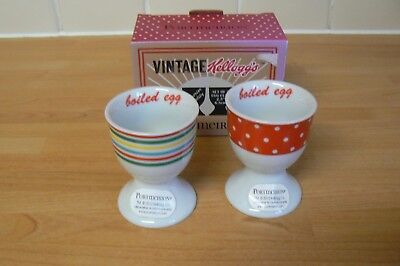 Portmeirion Vintage  Kelloggs  Egg Cups Set of 2 BOXED stripes and spots