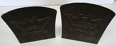 Pair Of Arts & Crafts Period Hammered Copper Bookends Mother Dad