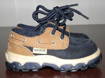 ce7359c743c6a6 WEEBOK by REEBOK Navy Blue Brown Casual Boat Deck Shoes Infant Toddler Sz.
