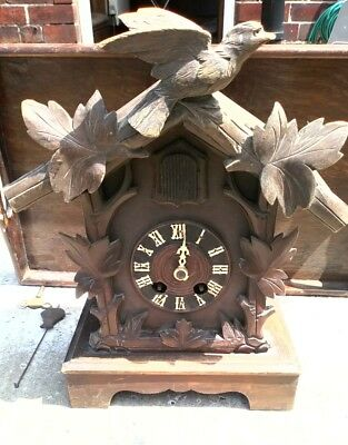 Antique Black Forest Mantle Cuckoo Clock - See Description And Video