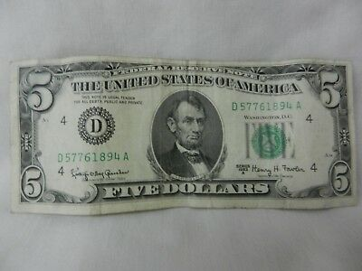 1963A Circulated US $5 Federal Reserve Note D Series Bank of Cleveland