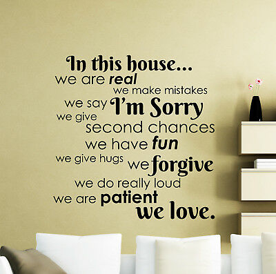 In this House We Do Real Mistakes Im Sorry Family Wall Decal Vinyl Quote Art A36