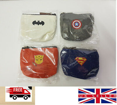 Kids Superhero Coin Purse And Wallet Batman Superman Captain America Marvel Gift
