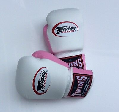 Twins Special Bgvl-3T White/Pink 10oz Muay Thai/ Boxing Gloves