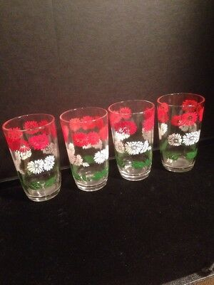 (4) Swanky Swig Juice Glasses Bachelor Button Red White Flower Green Leaves