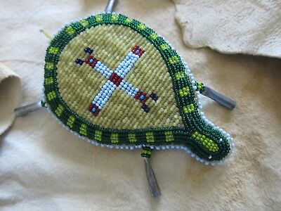 VINTAGE Sioux Native American BEADED UMBILICAL CORD FETISH-Pristine-PRE-0WNED