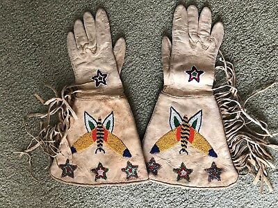 HARD TO FIND Native American beaded leather gloves; rodeo gauntlets; NICE!!