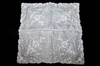 Amazing Victorian Style Floral Roses Design Hand Embroidery Batiste Handkerchief