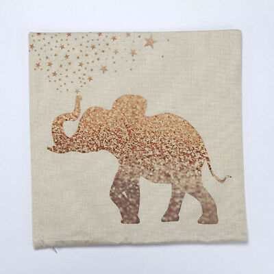 Brand New Starry Gold Elephant Canvas Water Colour Cushion Cover Watercolour