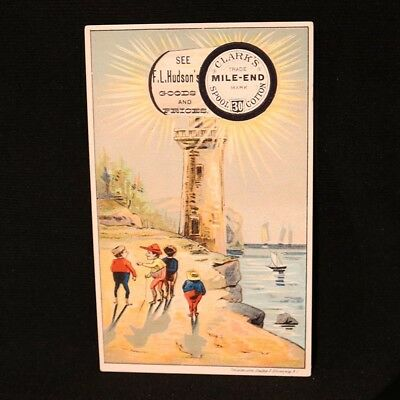 Clark's Mile-End Victorian Trade Card - Lighthouse