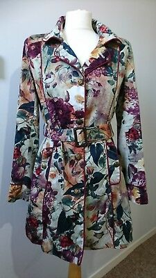 Joe Browns Chic Floral Mac Trench Coat, Size 10 Multi Coloured cotton